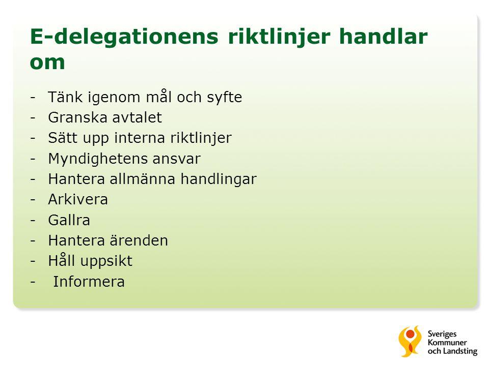 E-delegationens riktlinjer handlar om -Tänk igenom mål och syfte -Granska avtalet -Sätt upp interna riktlinjer -Myndighetens ansvar -Hantera allmänna handlingar -Arkivera -Gallra -Hantera ärenden -Håll uppsikt - Informera