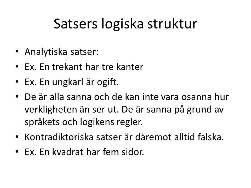 Satsers logiska struktur Analytiska satser: Ex.En trekant har tre kanter Ex.