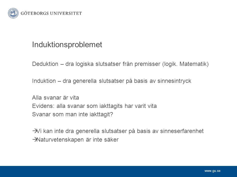 www.gu.se Induktionsproblemet Deduktion – dra logiska slutsatser från premisser (logik.