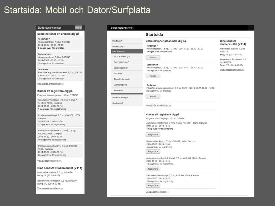 Startsida: Mobil och Dator/Surfplatta