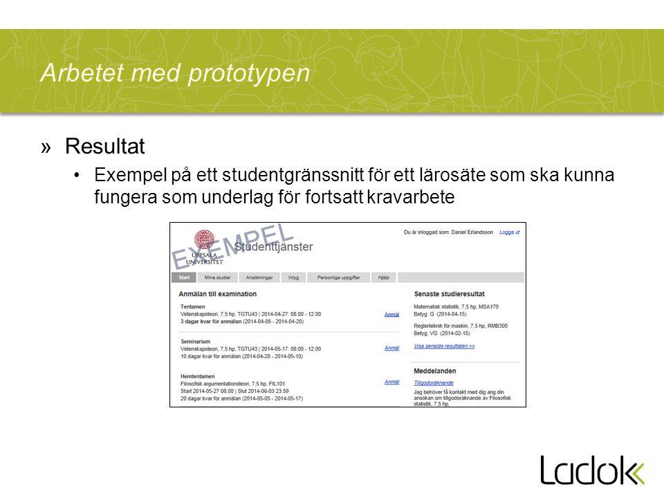 Arbetet med prototypen »Resultat Exempel på ett studentgränssnitt för ett lärosäte som ska kunna fungera som underlag för fortsatt kravarbete