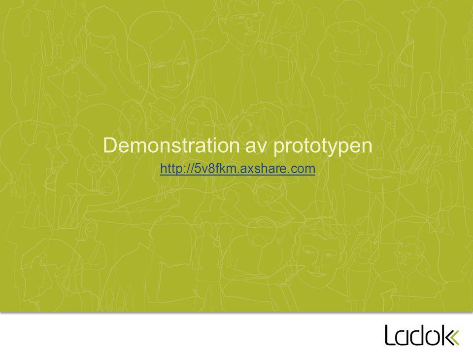 Demonstration av prototypen http://5v8fkm.axshare.com