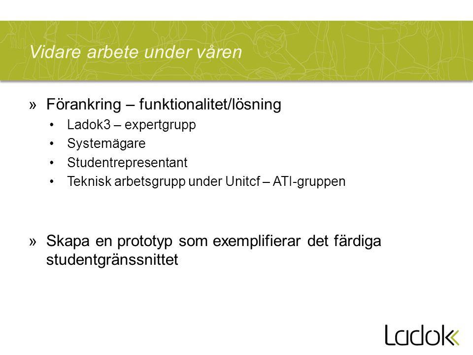 Vidare arbete under våren »Förankring – funktionalitet/lösning Ladok3 – expertgrupp Systemägare Studentrepresentant Teknisk arbetsgrupp under Unitcf –