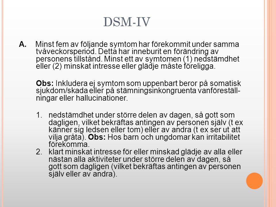DSM-IV A. Minst fem av följande symtom har förekommit under samma tvåveckorsperiod. Detta har inneburit en förändring av personens tillstånd. Minst et