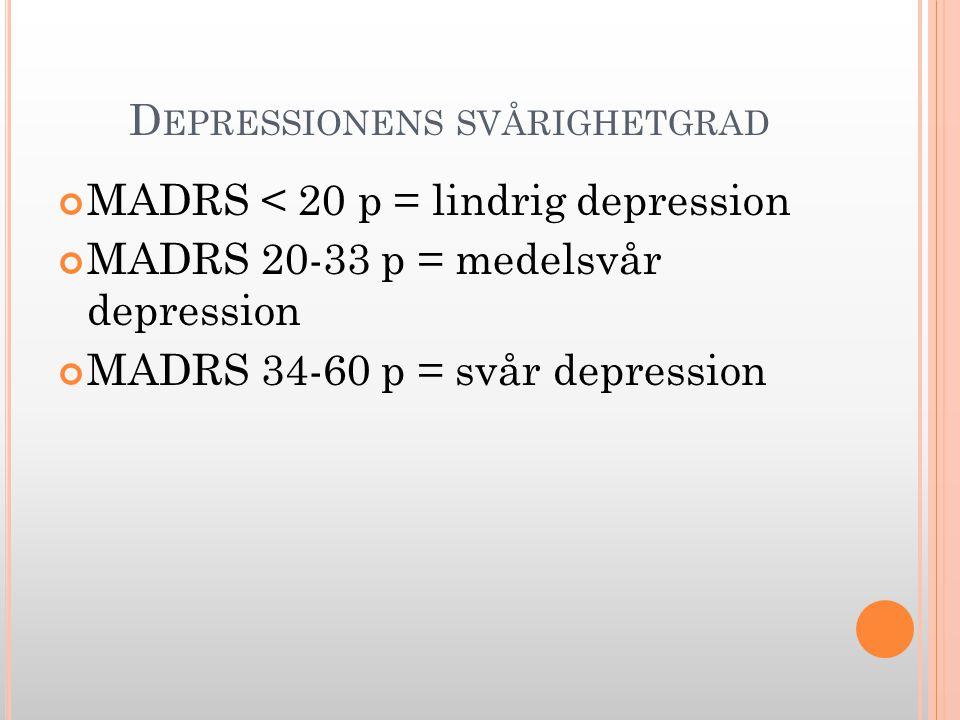 D EPRESSIONENS SVÅRIGHETGRAD MADRS < 20 p = lindrig depression MADRS 20-33 p = medelsvår depression MADRS 34-60 p = svår depression