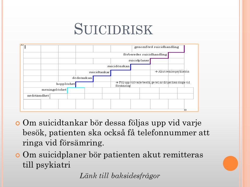 S UICIDRISK Om suicidtankar bör dessa följas upp vid varje besök, patienten ska också få telefonnummer att ringa vid försämring. Om suicidplaner bör p