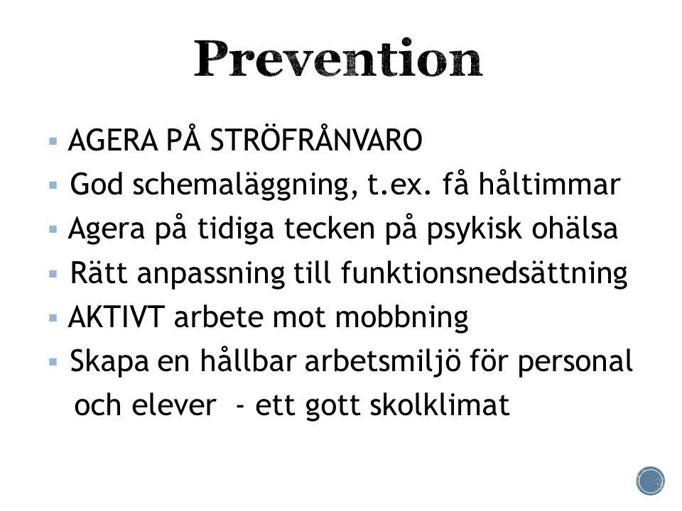  AGERA PÅ STRÖFRÅNVARO  God schemaläggning, t.ex. få håltimmar  Agera på tidiga tecken på psykisk ohälsa  Rätt anpassning till funktionsnedsättnin