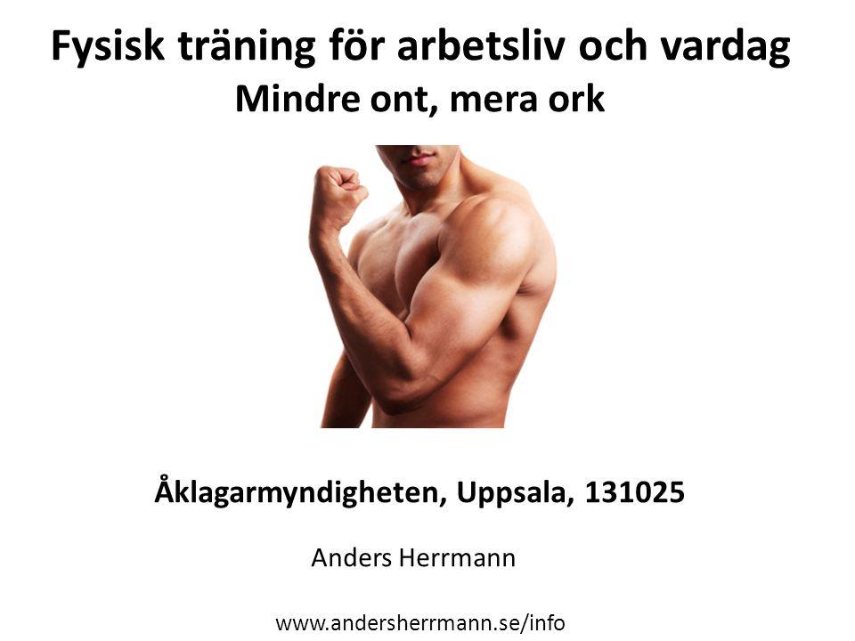 Fysisk träning för arbetsliv och vardag Mindre ont, mera ork Åklagarmyndigheten, Uppsala, 131025 Anders Herrmann www.andersherrmann.se/info