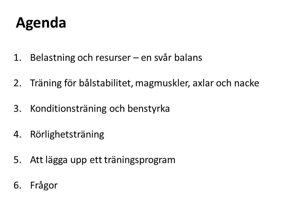 1.Belastning och resurser – en svår balans 2.Träning för bålstabilitet, magmuskler, axlar och nacke 3.Konditionsträning och benstyrka 4.Rörlighetsträning 5.Att lägga upp ett träningsprogram 6.Frågor Agenda