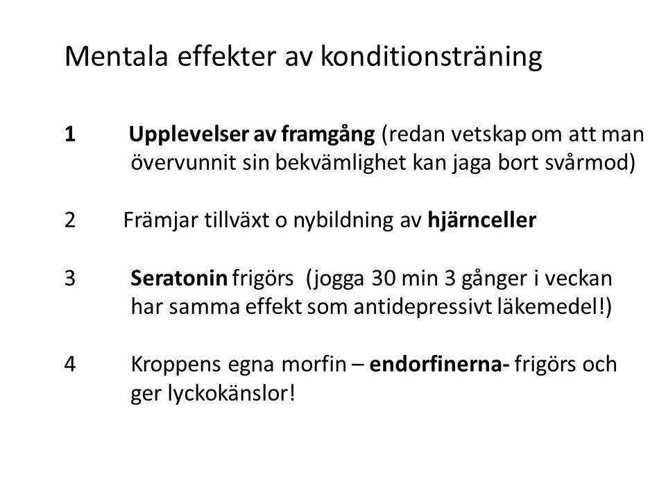 Mentala effekter av konditionsträning 1 Upplevelser av framgång (redan vetskap om att man övervunnit sin bekvämlighet kan jaga bort svårmod) 2 Främjar tillväxt o nybildning av hjärnceller 3 Seratonin frigörs (jogga 30 min 3 gånger i veckan har samma effekt som antidepressivt läkemedel!) 4 Kroppens egna morfin – endorfinerna- frigörs och ger lyckokänslor!