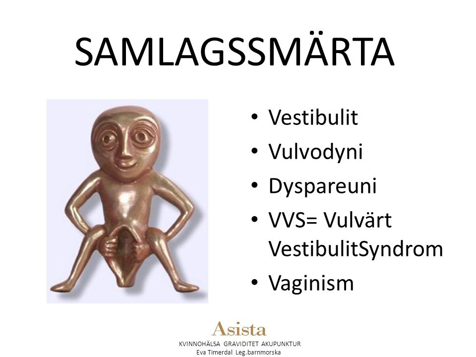 KVINNOHÄLSA GRAVIDITET AKUPUNKTUR Eva Timerdal Leg.barnmorska SAMLAGSSMÄRTA Vestibulit Vulvodyni Dyspareuni VVS= Vulvärt VestibulitSyndrom Vaginism