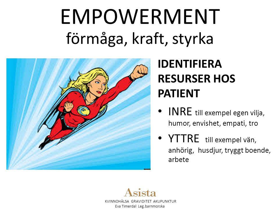 KVINNOHÄLSA GRAVIDITET AKUPUNKTUR Eva Timerdal Leg.barnmorska EMPOWERMENT förmåga, kraft, styrka IDENTIFIERA RESURSER HOS PATIENT INRE till exempel eg