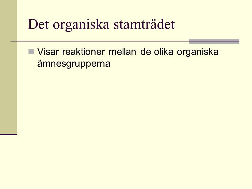 Det organiska stamträdet Visar reaktioner mellan de olika organiska ämnesgrupperna