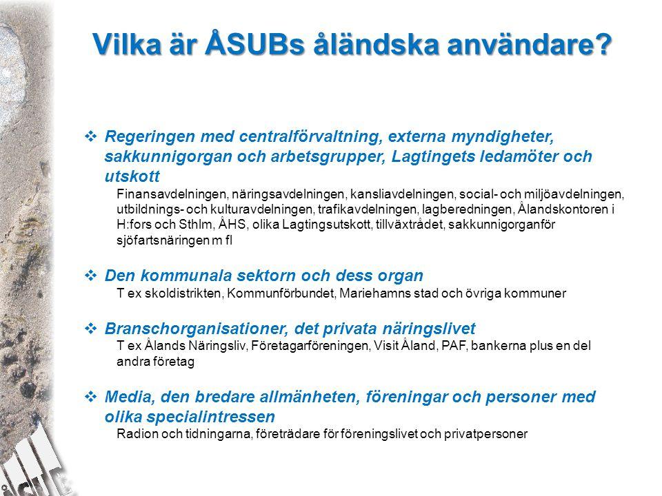Vilka är ÅSUBs åländska användare?  Regeringen med centralförvaltning, externa myndigheter, sakkunnigorgan och arbetsgrupper, Lagtingets ledamöter oc