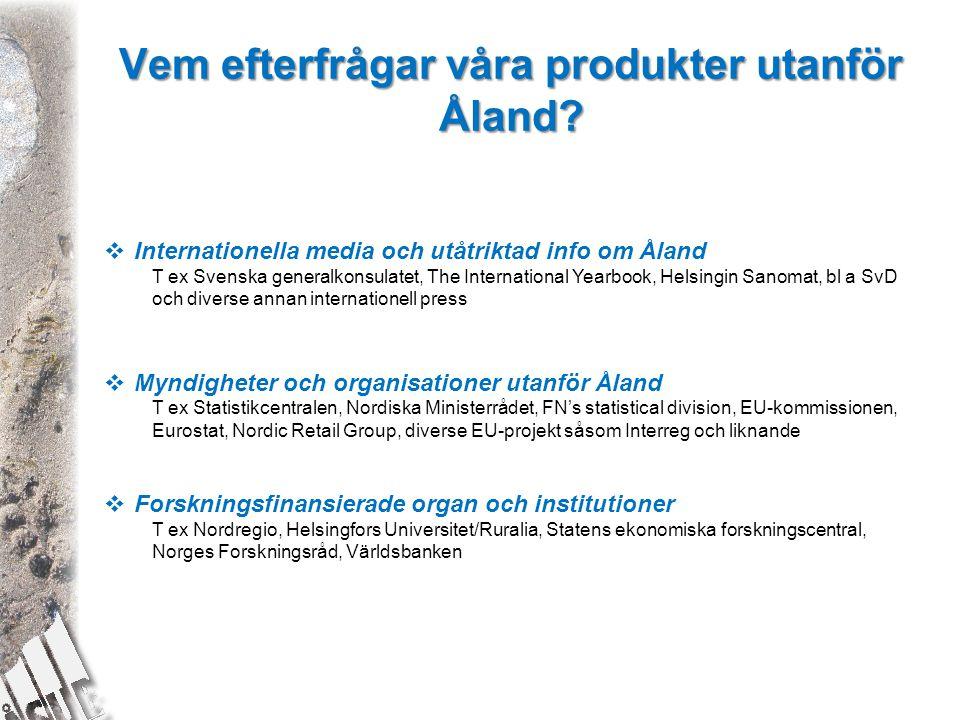 Vem efterfrågar våra produkter utanför Åland?  Internationella media och utåtriktad info om Åland T ex Svenska generalkonsulatet, The International Y