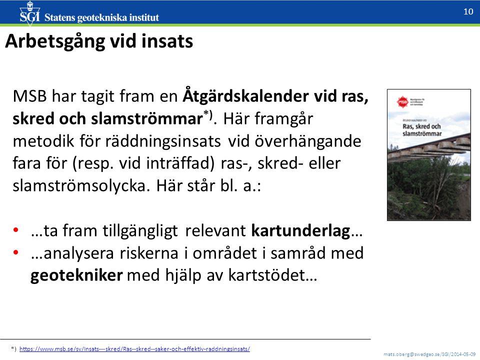 mats.oberg@swedgeo.se/SGI/2014-05-09 10 Arbetsgång vid insats MSB har tagit fram en Åtgärdskalender vid ras, skred och slamströmmar *). Här framgår me