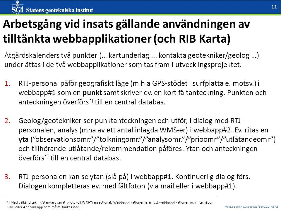 mats.oberg@swedgeo.se/SGI/2014-05-09 11 Arbetsgång vid insats gällande användningen av tilltänkta webbapplikationer (och RIB Karta) Åtgärdskalenders två punkter (… kartunderlag...