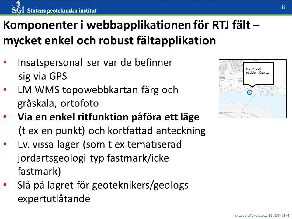 mats.oberg@swedgeo.se/SGI/2014-05-09 8 Komponenter i webbapplikationen för RTJ fält – mycket enkel och robust fältapplikation Insatspersonal ser var d