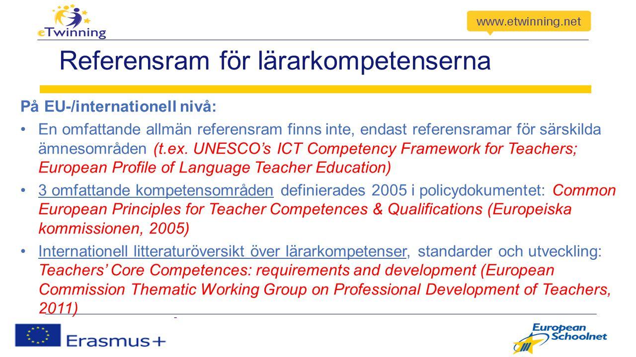 Referensram för lärarkompetenserna På EU-/internationell nivå: En omfattande allmän referensram finns inte, endast referensramar för särskilda ämnesområden (t.ex.