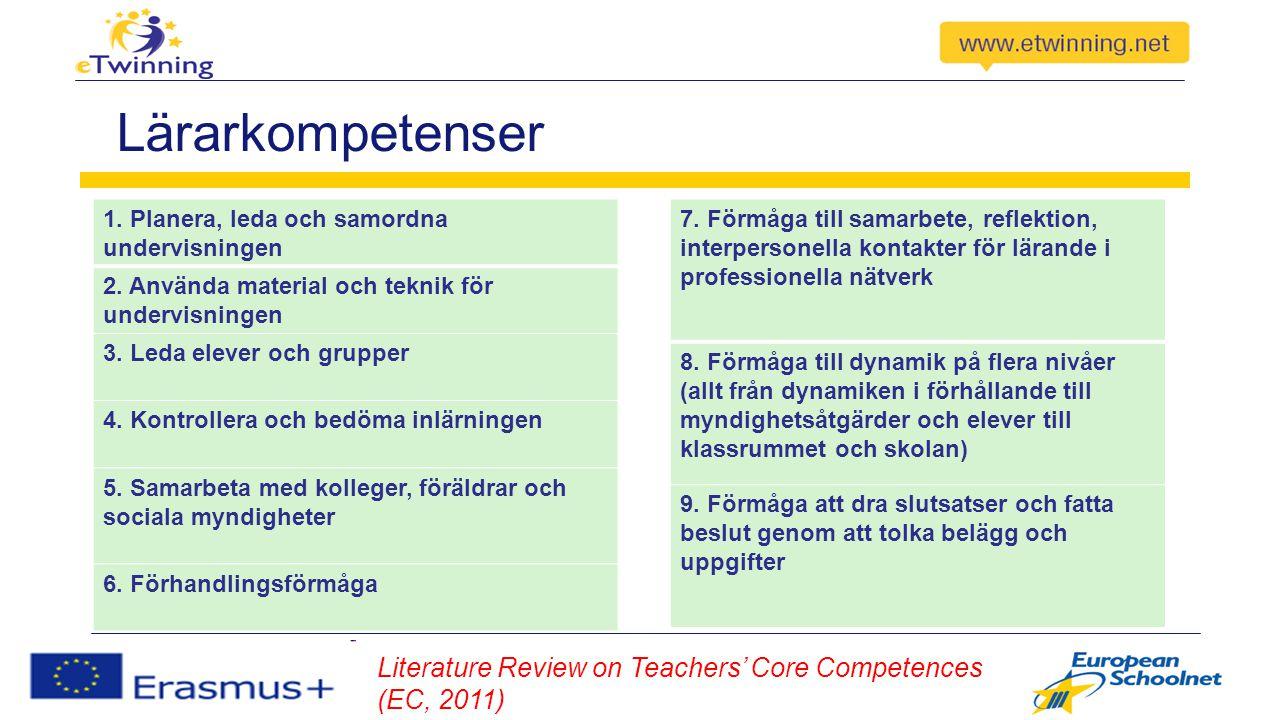 Lärarkompetenser 1. Planera, leda och samordna undervisningen 2.