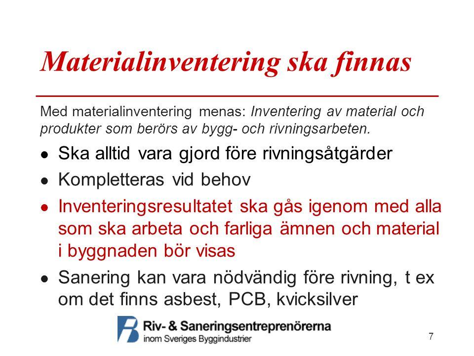 Materialinventering ska finnas Med materialinventering menas: Inventering av material och produkter som berörs av bygg- och rivningsarbeten. Ska allti