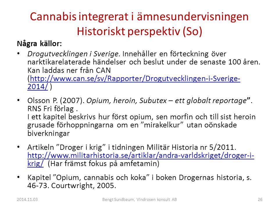 Cannabis integrerat i ämnesundervisningen Historiskt perspektiv (So) Några källor: Drogutvecklingen i Sverige.