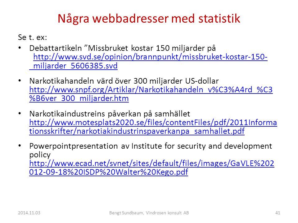 Några webbadresser med statistik Se t.