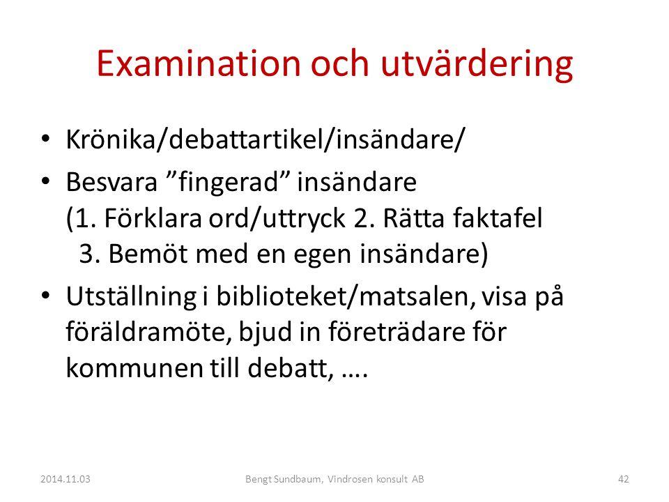 Examination och utvärdering Krönika/debattartikel/insändare/ Besvara fingerad insändare (1.