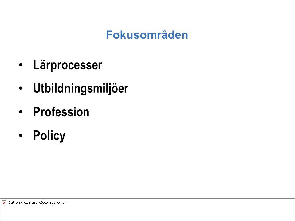 Fokusområden Lärprocesser Utbildningsmiljöer Profession Policy