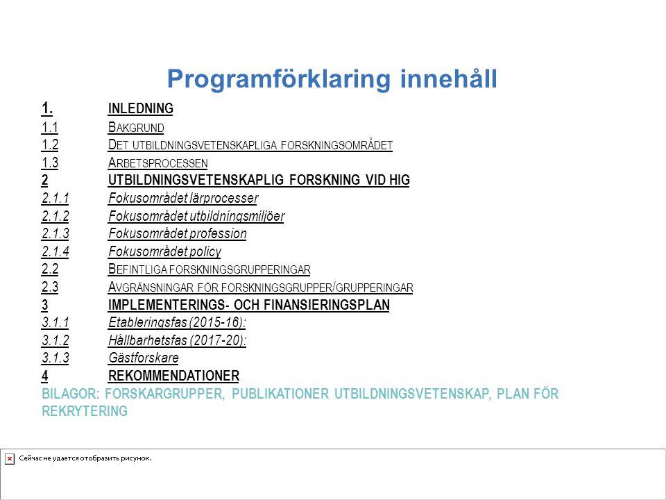 Programförklaring innehåll 1. INLEDNING 1.1B AKGRUND 1.2D ET UTBILDNINGSVETENSKAPLIGA FORSKNINGSOMRÅDET 1.3A RBETSPROCESSEN 2UTBILDNINGSVETENSKAPLIG F