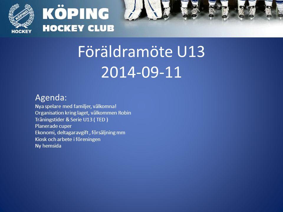 Föräldramöte U13 2014-09-11 Agenda: Nya spelare med familjer, välkomna.