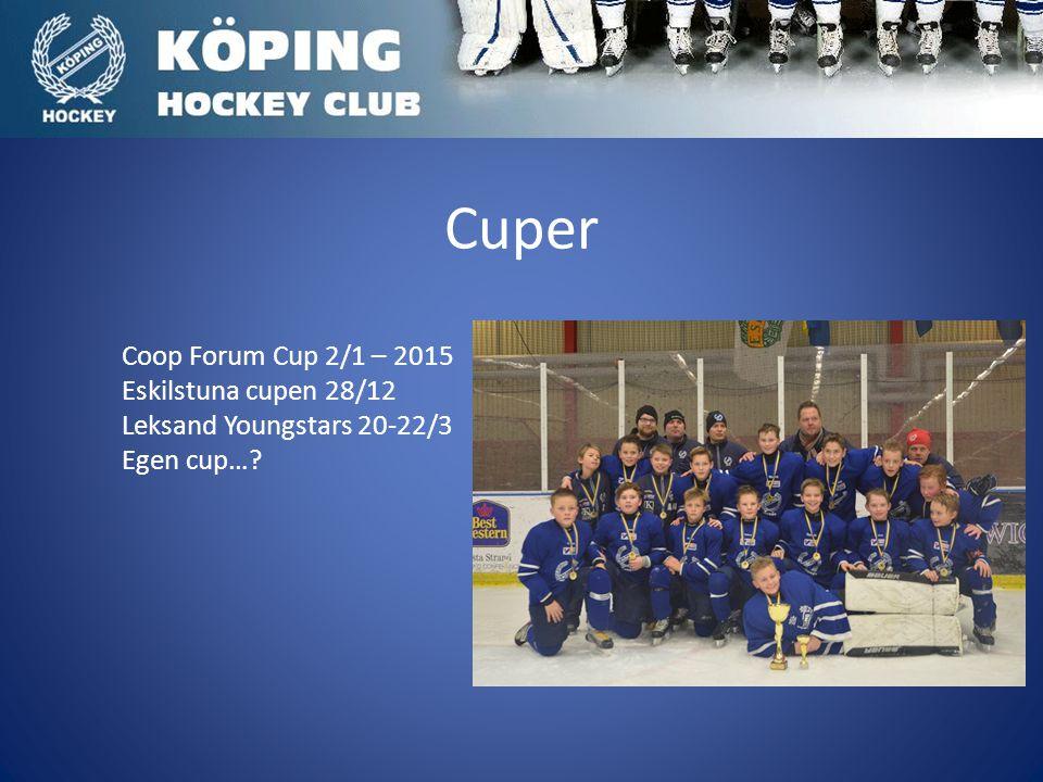 Cuper Coop Forum Cup 2/1 – 2015 Eskilstuna cupen 28/12 Leksand Youngstars 20-22/3 Egen cup…