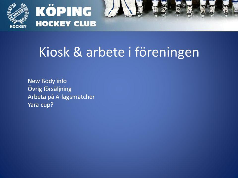 Kiosk & arbete i föreningen New Body info Övrig försäljning Arbeta på A-lagsmatcher Yara cup