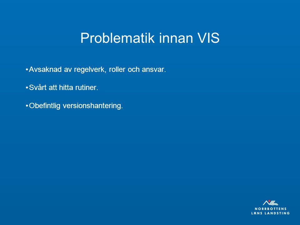 Problematik innan VIS Avsaknad av regelverk, roller och ansvar. Svårt att hitta rutiner. Obefintlig versionshantering.