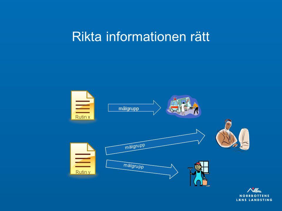 Rikta informationen rätt Rutin x Rutin y målgrupp