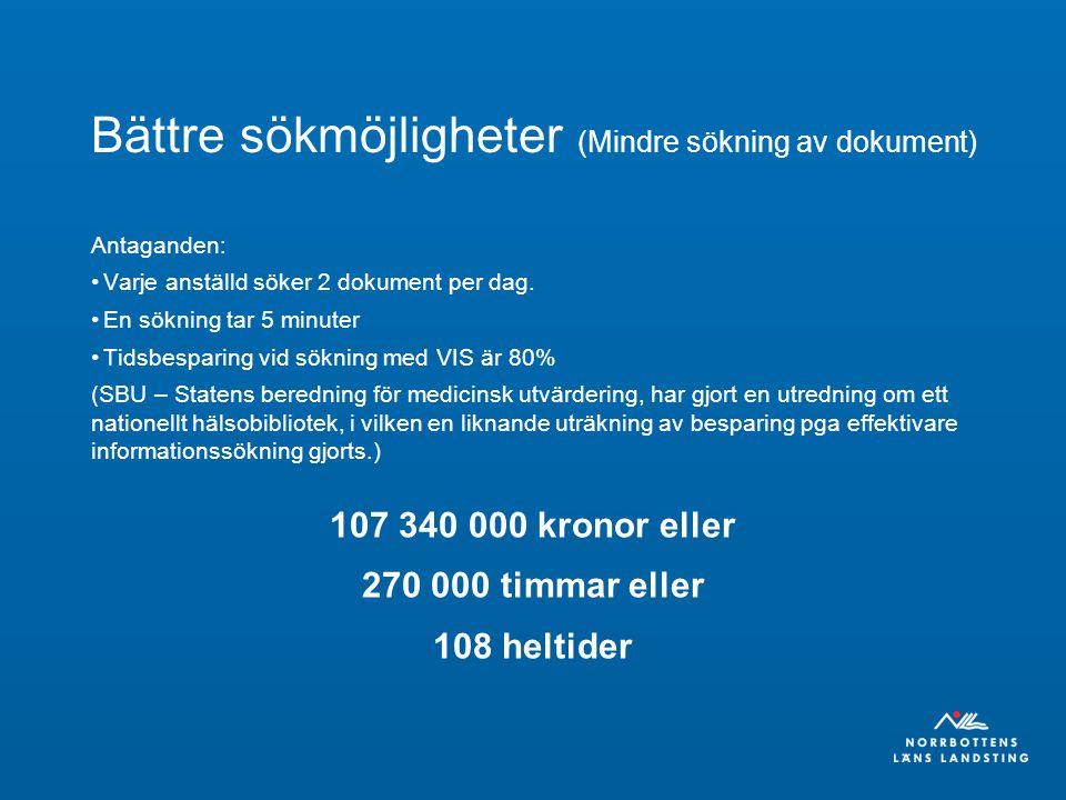 Bättre sökmöjligheter (Mindre sökning av dokument) Antaganden: Varje anställd söker 2 dokument per dag. En sökning tar 5 minuter Tidsbesparing vid sök