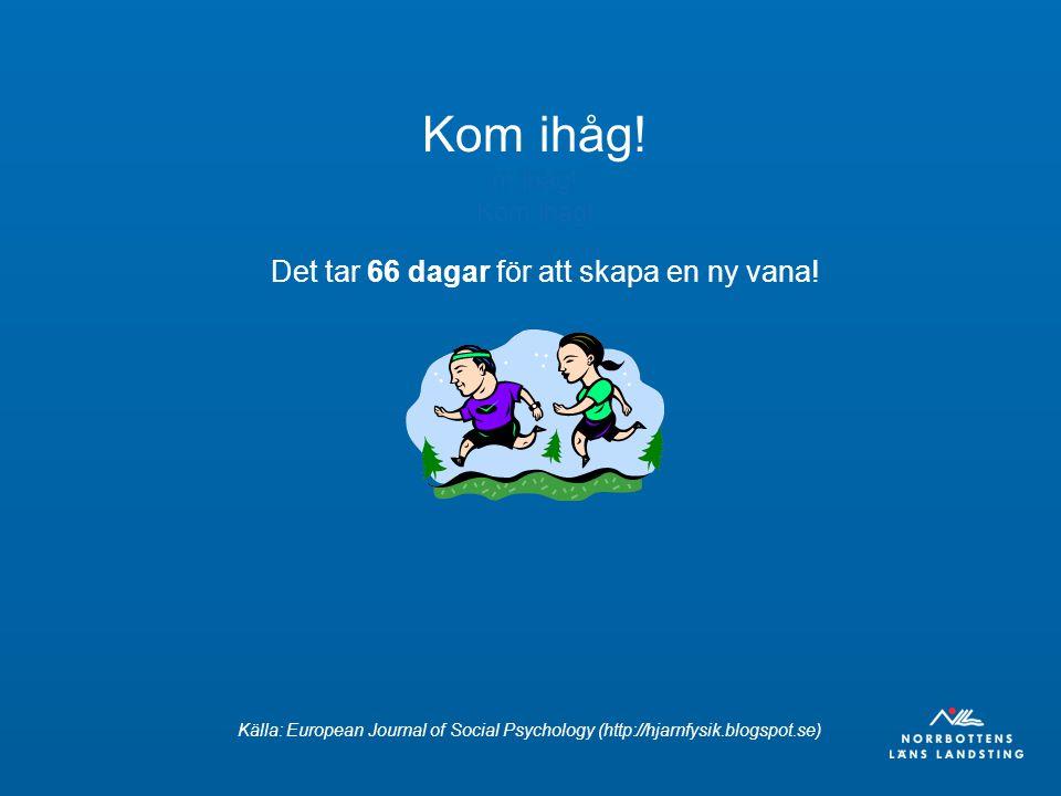 Det tar 66 dagar för att skapa en ny vana! Kom ihåg! m ihåg! Kom ihåg! Källa: European Journal of Social Psychology (http://hjarnfysik.blogspot.se)