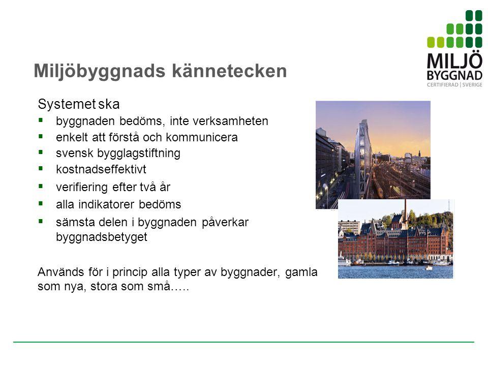 Entreprenör Förvaltare Miljöbyggnads kännetecken Systemet ska  byggnaden bedöms, inte verksamheten  enkelt att förstå och kommunicera  svensk byggl