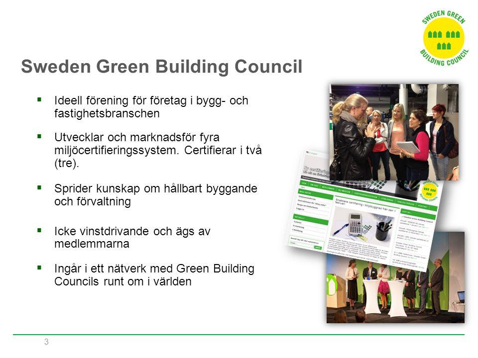 3  Ideell förening för företag i bygg- och fastighetsbranschen  Utvecklar och marknadsför fyra miljöcertifieringssystem. Certifierar i två (tre). 