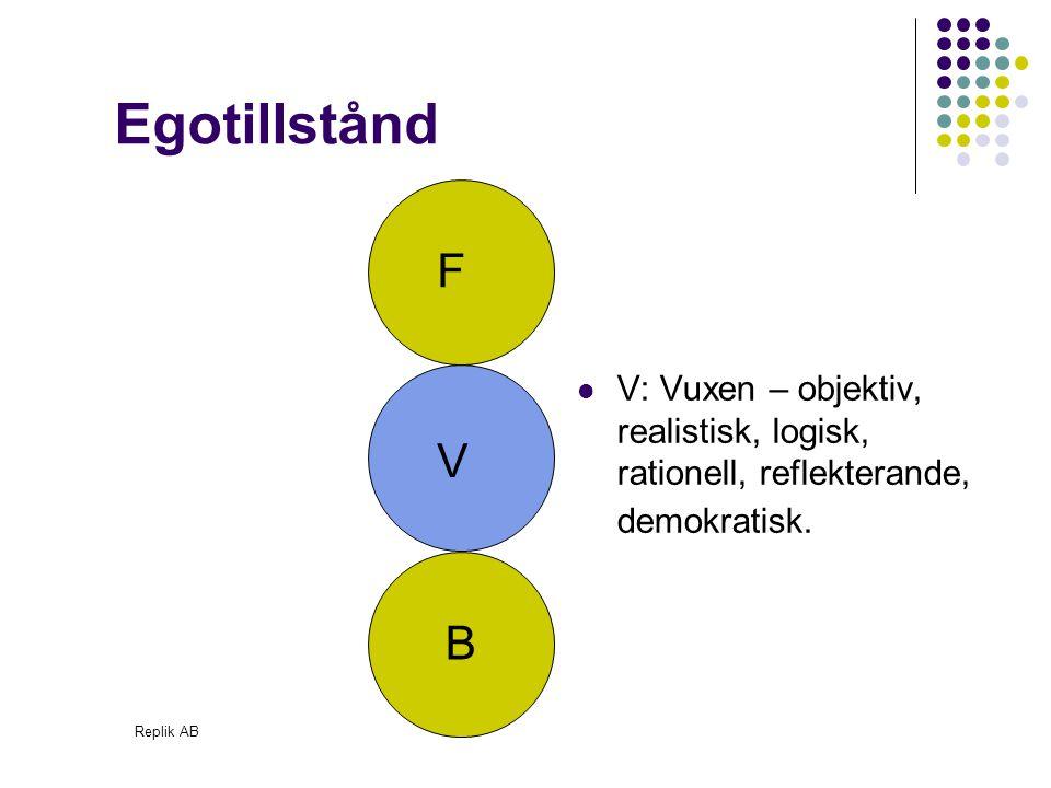Replik AB V: Vuxen – objektiv, realistisk, logisk, rationell, reflekterande, demokratisk. Egotillstånd F V B