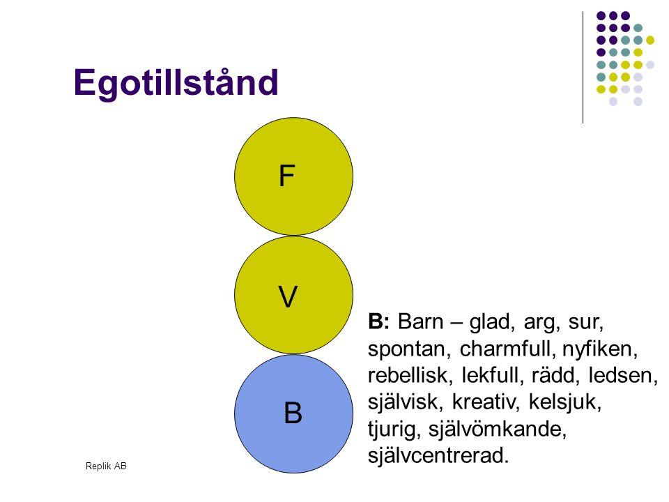 Replik AB Namnen F,V och B ska ses som symboliska illustrationer Baseras på observerbart beteende Alla har alla delar inom sig Det är inte åldersrelaterat Egotillstånd
