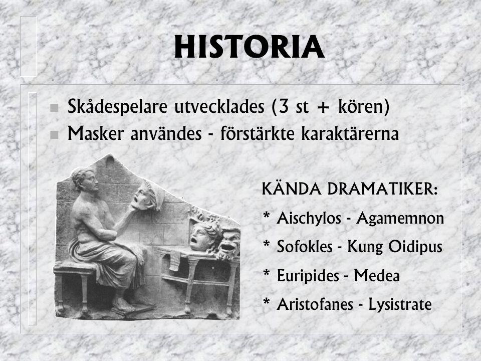 HISTORIA Skådespelare utvecklades (3 st + kören) Masker användes - förstärkte karaktärerna KÄNDA DRAMATIKER: * Aischylos - Agamemnon * Sofokles - Kung