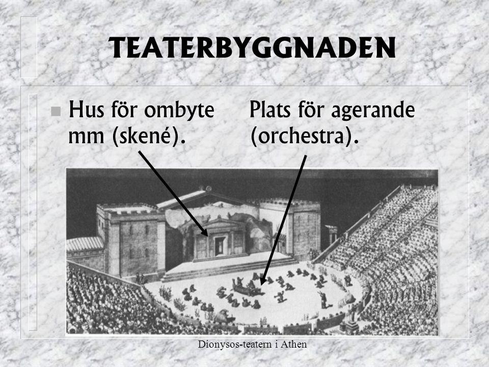 TEATERBYGGNADEN Hus för ombyte mm (skené). Plats för agerande (orchestra). Dionysos-teatern i Athen