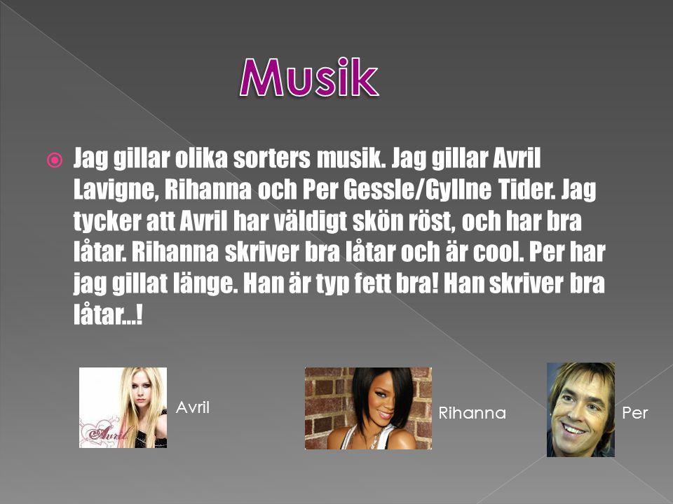  Jag gillar olika sorters musik. Jag gillar Avril Lavigne, Rihanna och Per Gessle/Gyllne Tider. Jag tycker att Avril har väldigt skön röst, och har b