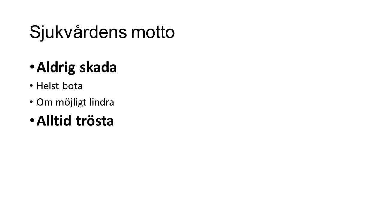 Sjukvårdens motto Aldrig skada Helst bota Om möjligt lindra Alltid trösta