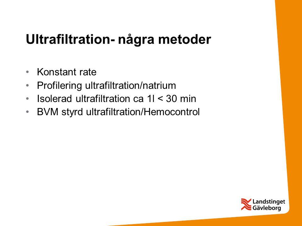 Ultrafiltration- några metoder Konstant rate Profilering ultrafiltration/natrium Isolerad ultrafiltration ca 1l < 30 min BVM styrd ultrafiltration/Hem