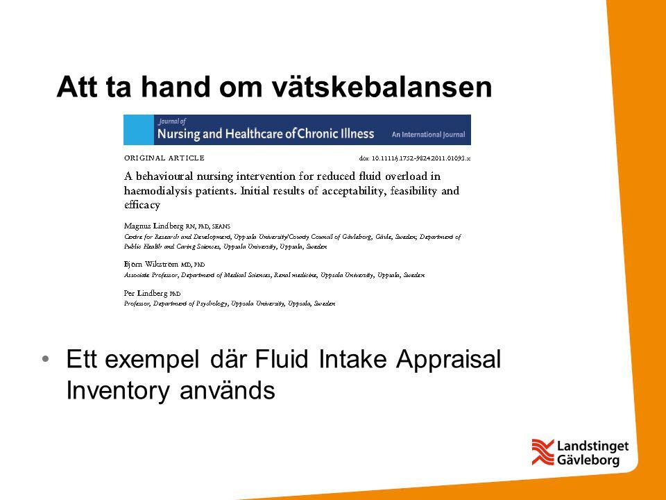 Att ta hand om vätskebalansen Ett exempel där Fluid Intake Appraisal Inventory används