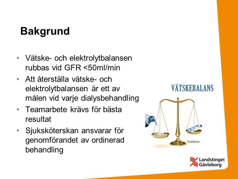 Bakgrund Vätske- och elektrolytbalansen rubbas vid GFR <50ml/min Att återställa vätske- och elektrolytbalansen är ett av målen vid varje dialysbehandl