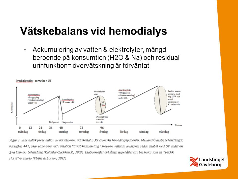 Vätskebalans vid hemodialys Ackumulering av vatten & elektrolyter, mängd beroende på konsumtion (H2O & Na) och residual urinfunktion= övervätskning är