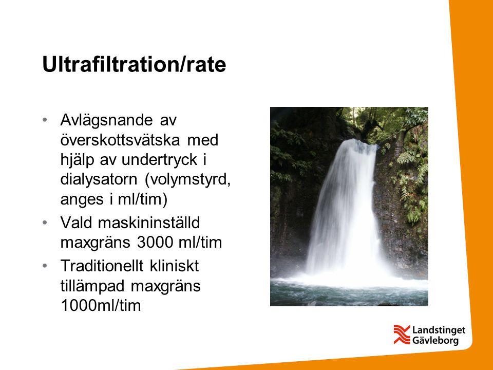 Ultrafiltration/rate Avlägsnande av överskottsvätska med hjälp av undertryck i dialysatorn (volymstyrd, anges i ml/tim) Vald maskininställd maxgräns 3